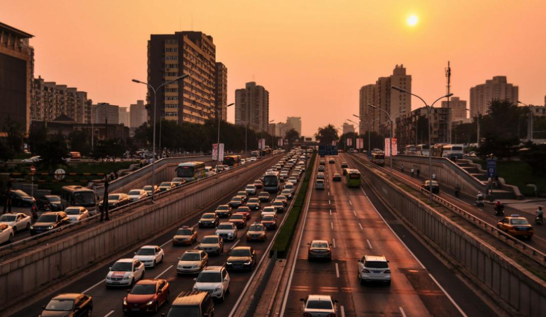 Busy three lane motorway at dusk