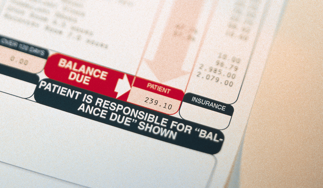 Close-up of patient's bill for dental services
