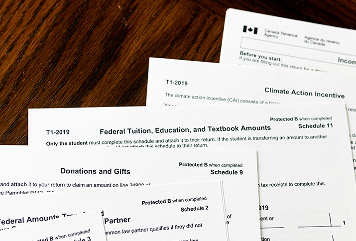 Tax forms from the Government of Canada